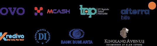 partner logo - ovo, mcash, topindo solusi komunika, alterra, kredivo, darmawisata indonesia, bank bumi arta, kingland avenue