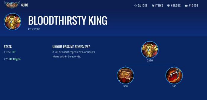 Thirsty King - Item Mobile Legends Terbaik