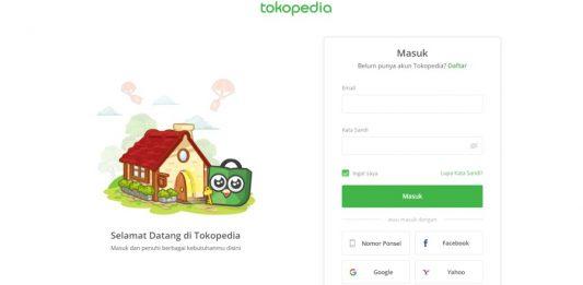 tokopedia login / cara log in tokopedia