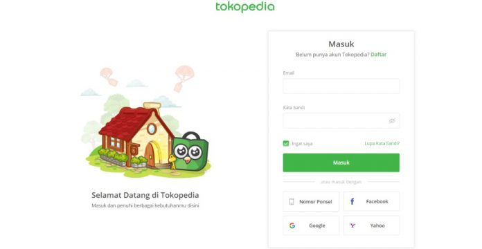 tokopedia login / cara log in tokopedia