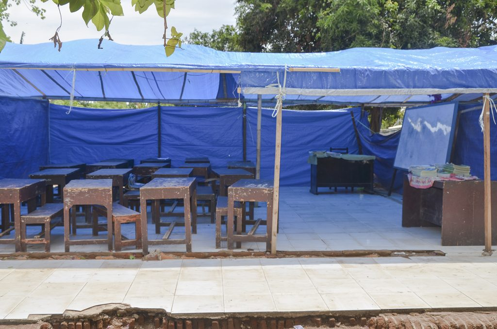 Kondisi bangunan sementara Sekolah Dasar Negeri 4 Labuhan Lombok Pasca Bencana Gempa