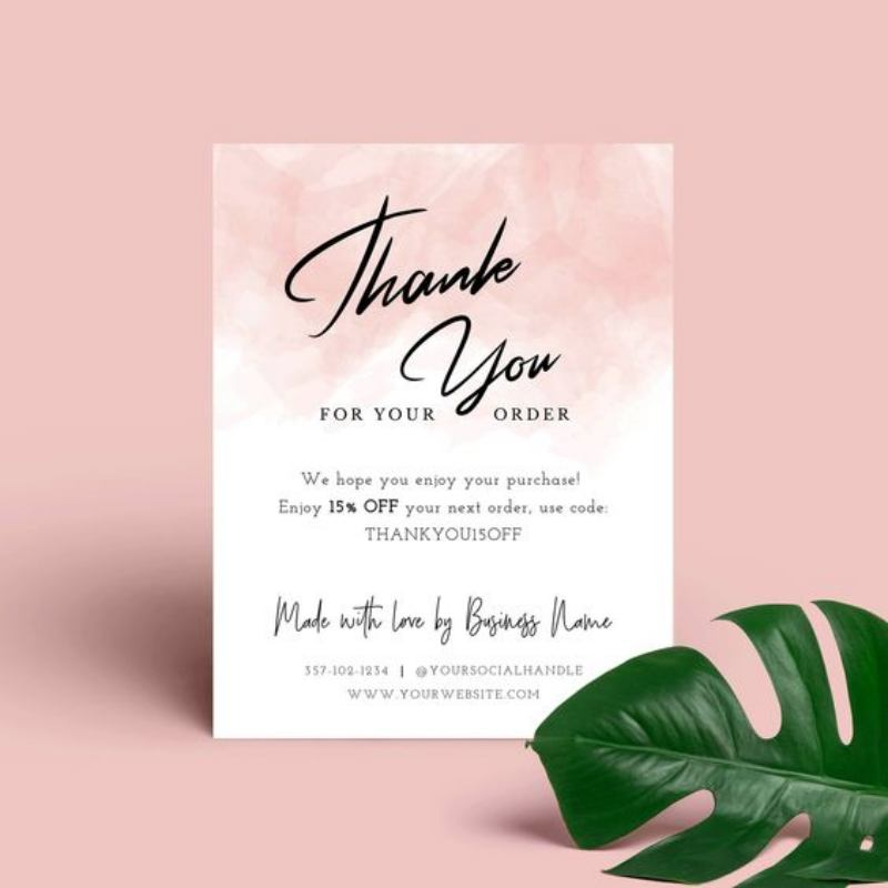 Thank you card watercolor