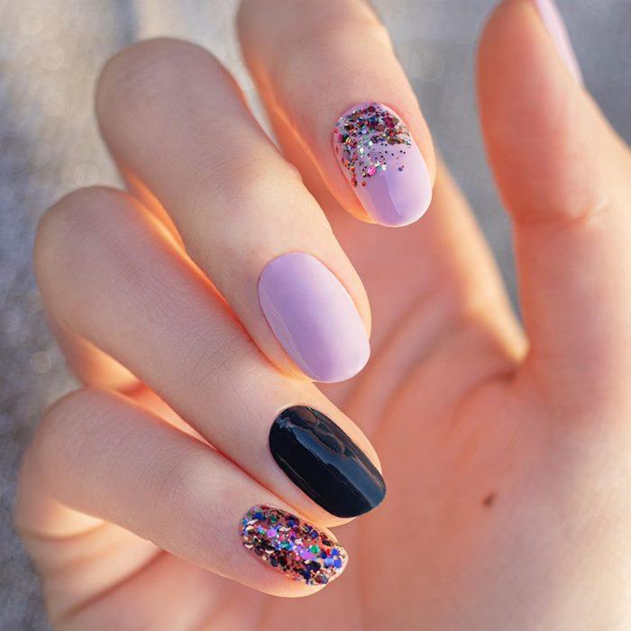 Lilac Confetti Nail Art