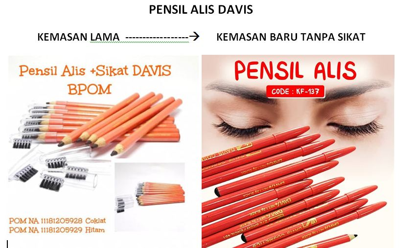 DAVIS PENSIL ALIS + SIKAT - EYEBROW PENCIL DAVIS - PENSIL ALIS DAVIS - Hitam thumbnail