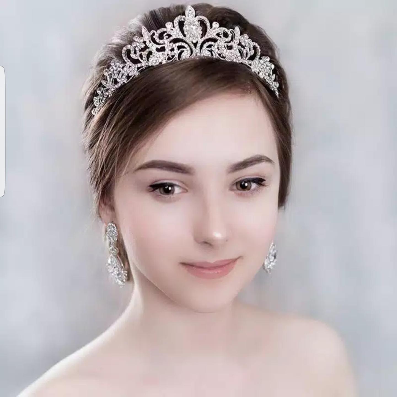 Mahkota Hiasan Rambut Tiara Crown Aksesoris Wedding Pesta Pengantin C6 thumbnail