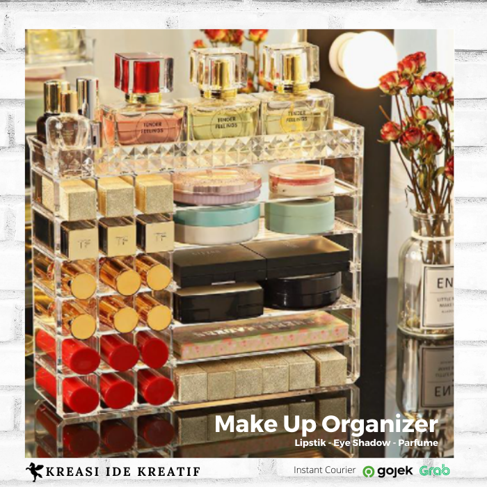 Make Up Organizer Kotak Lipstik Rak Kosmetik Eye Shadow Acrylic - Transparan thumbnail