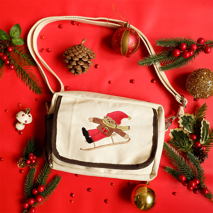 Embroidered Multifunction Pouch v2 - Poodle on Ski thumbnail