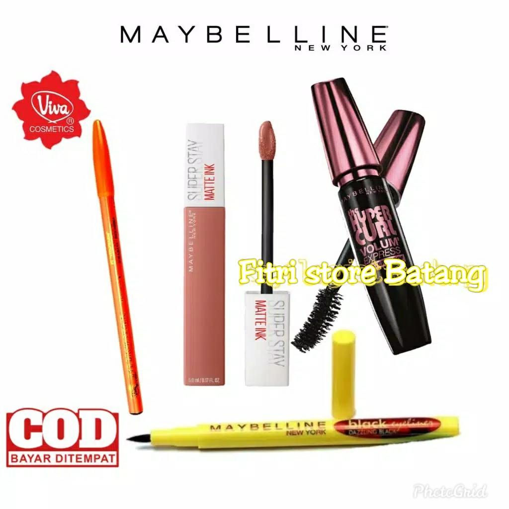 paket kosmetik maybeline 4in1 Mascara, Lipstik,eyeliner,pencil alis thumbnail