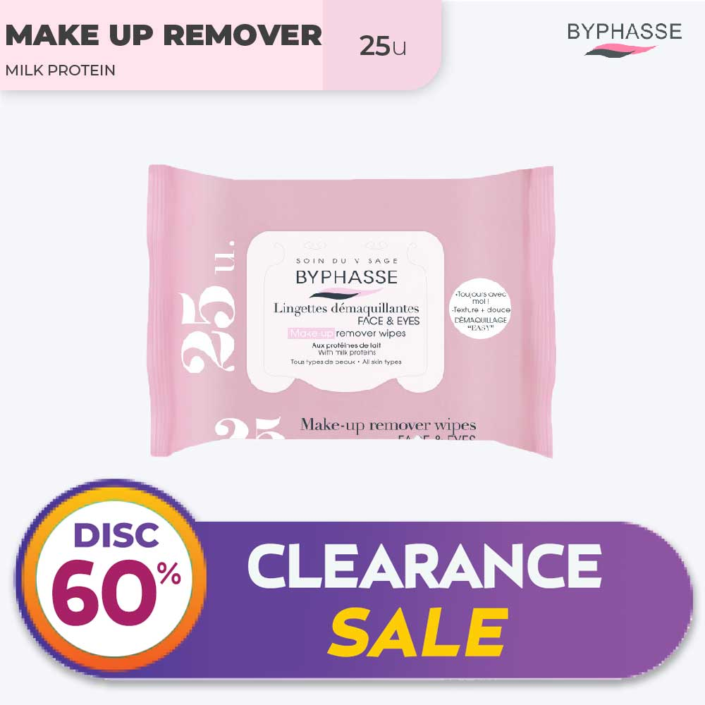 Byphasse Make-Up Remover Wipes Milk Proteins All Skin Types 25U. thumbnail