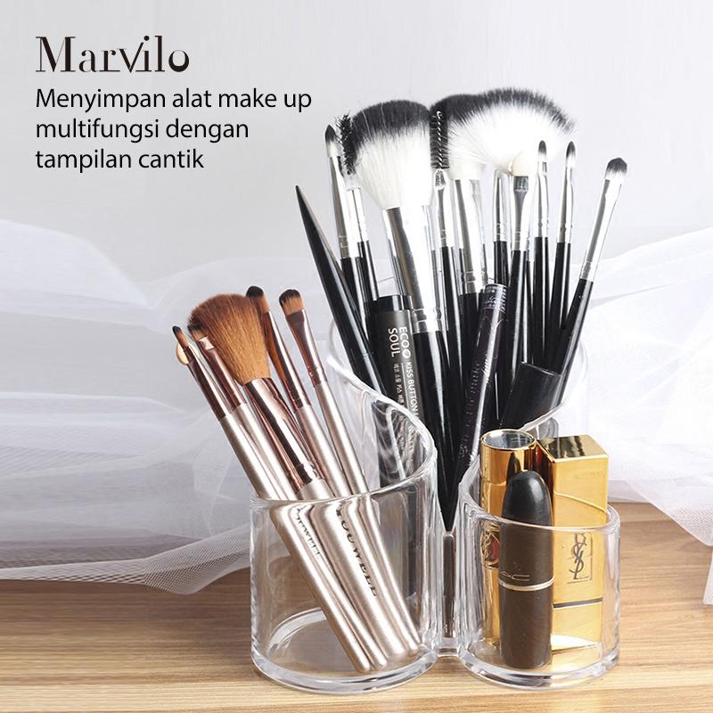 Marvilo Kotak Brush Akrilik Makeup Organizer 3 Sekat Bulat 3