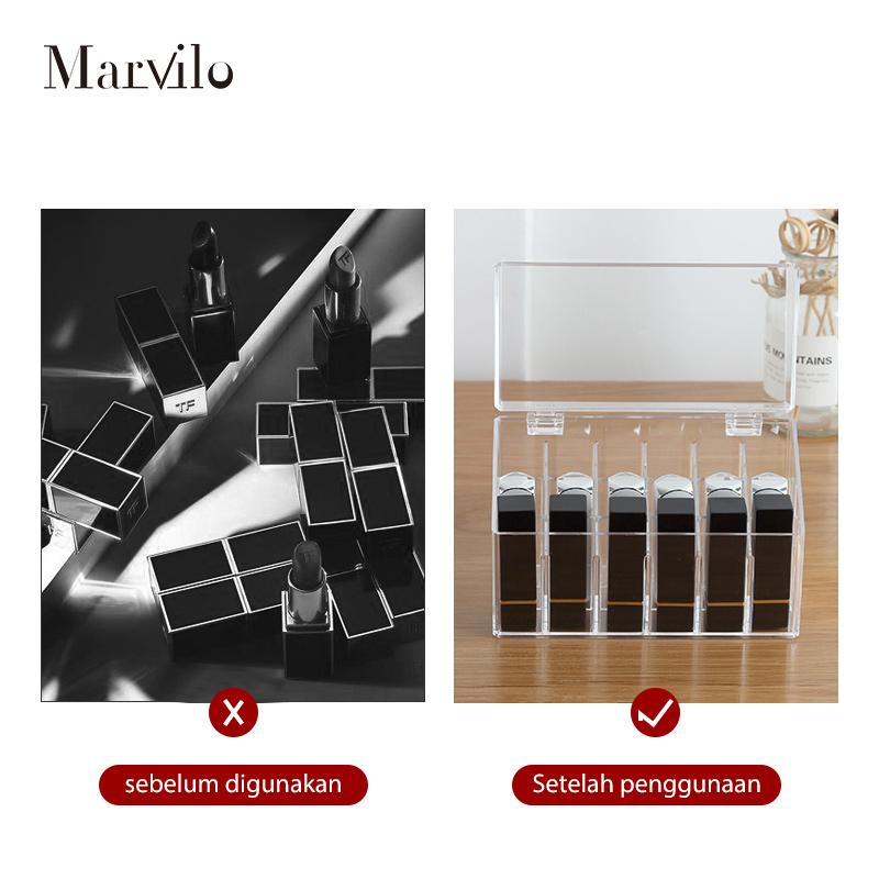 Marvilo Kotak Lipstik Akrilik 18 Sekat dengan Tutup Lipstick Organizer 4