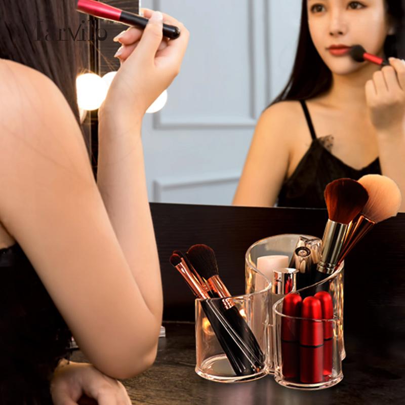 Marvilo Kotak Brush Akrilik Makeup Organizer 3 Sekat Bulat 4
