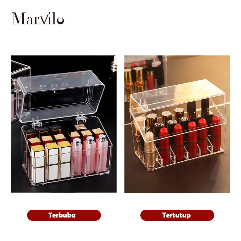Marvilo Kotak Lipstik Akrilik 18 Sekat dengan Tutup Lipstick Organizer 5