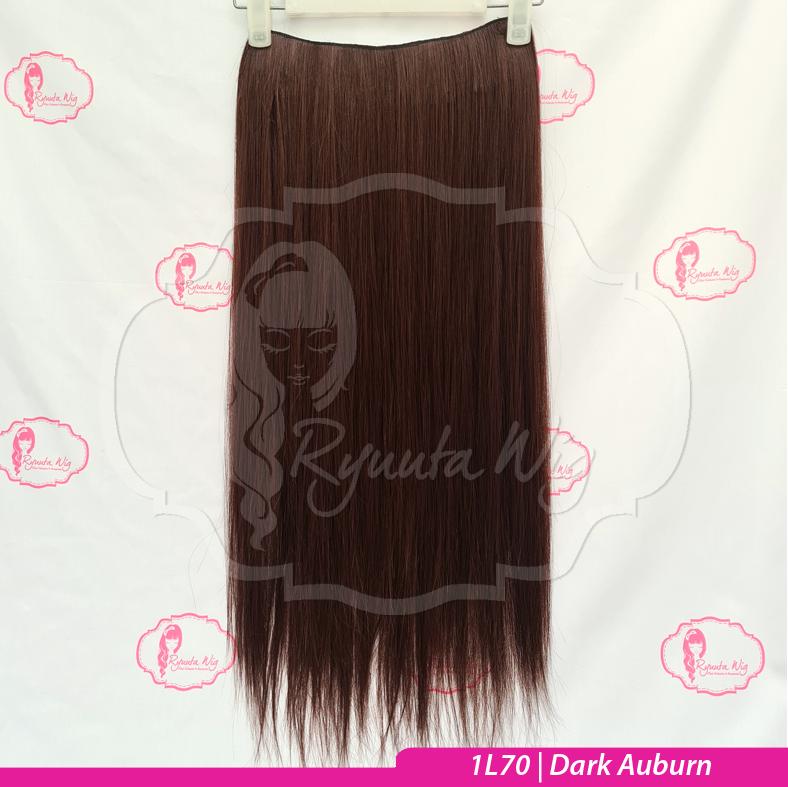 LONG 75cm 70cm Big Layer Hair Extension Clip Hairclip Lurus Curly - Dark Auburn thumbnail