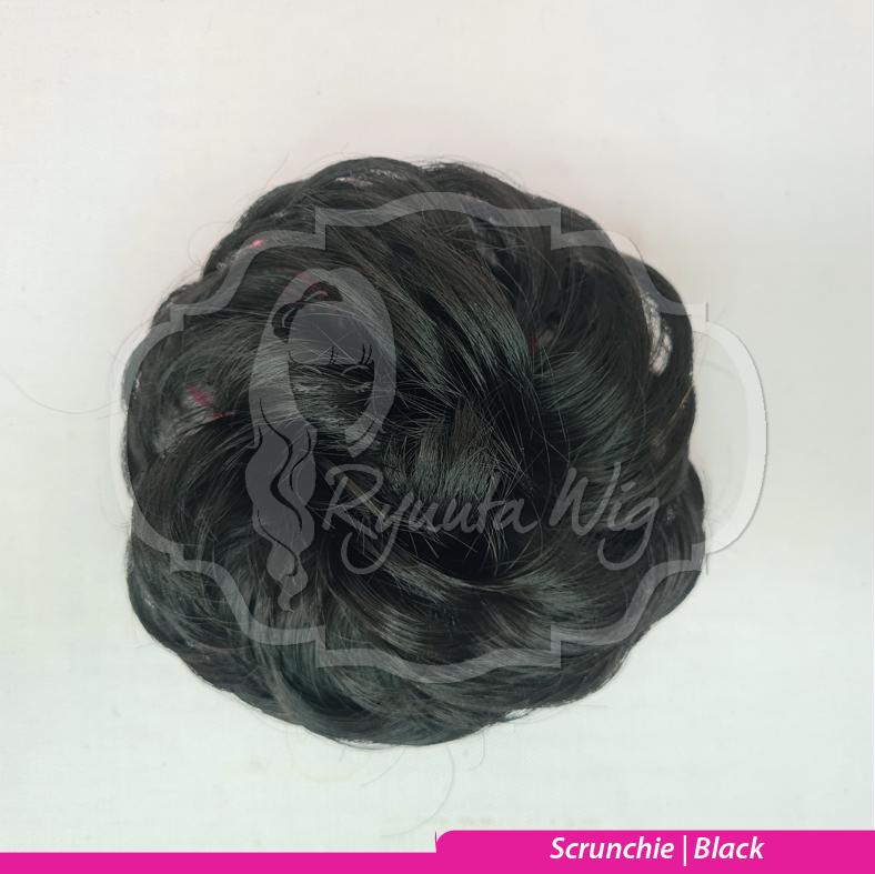 Scrunchie Hairpiece Extension Wig Karet Messy Bun - Black thumbnail