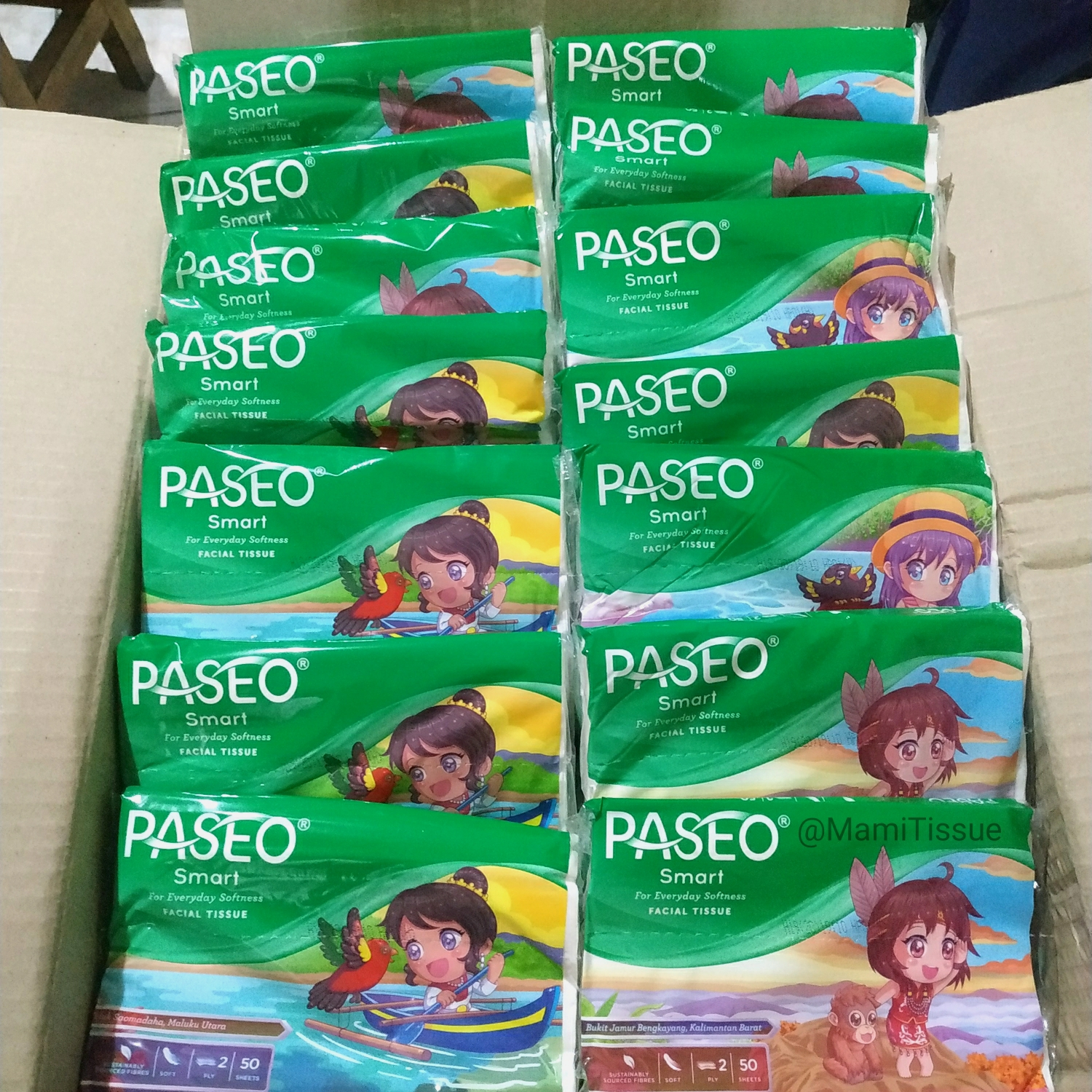 tissue paseo travel pack 50 sheets 2ply tisue wajah thumbnail