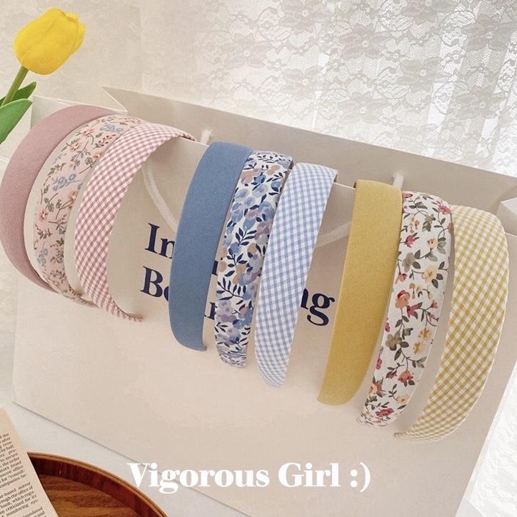 Bando wanita korea bandana polos premium fashion cantik seoul headband - pink grid thumbnail