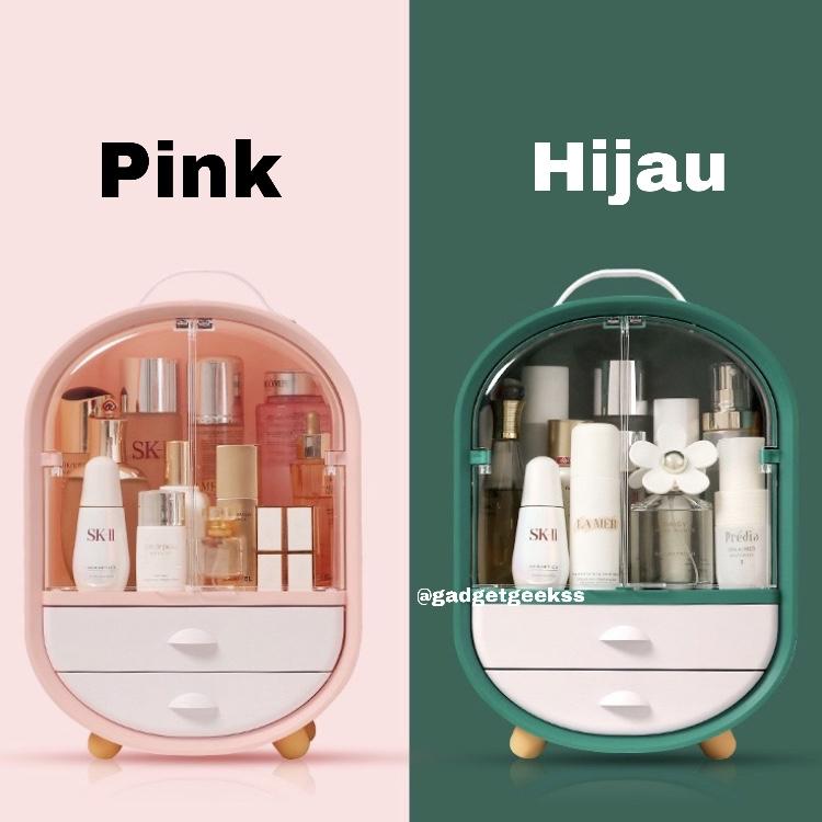 Rak Kosmetik Kotak Makeup Storage Organizer Tempat Penyimpanan Make Up - Merah Muda thumbnail
