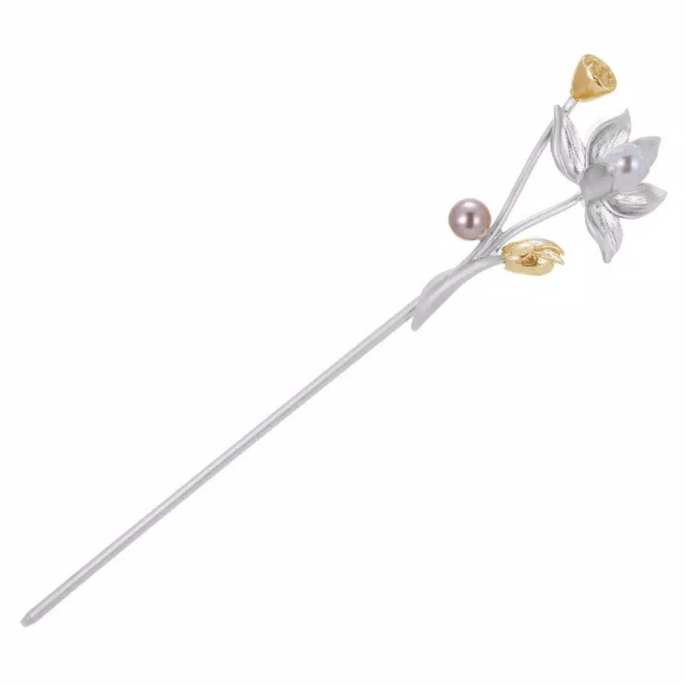 Tusuk sanggul konde oriental bunga teratai aksesoris rambut - Silver thumbnail