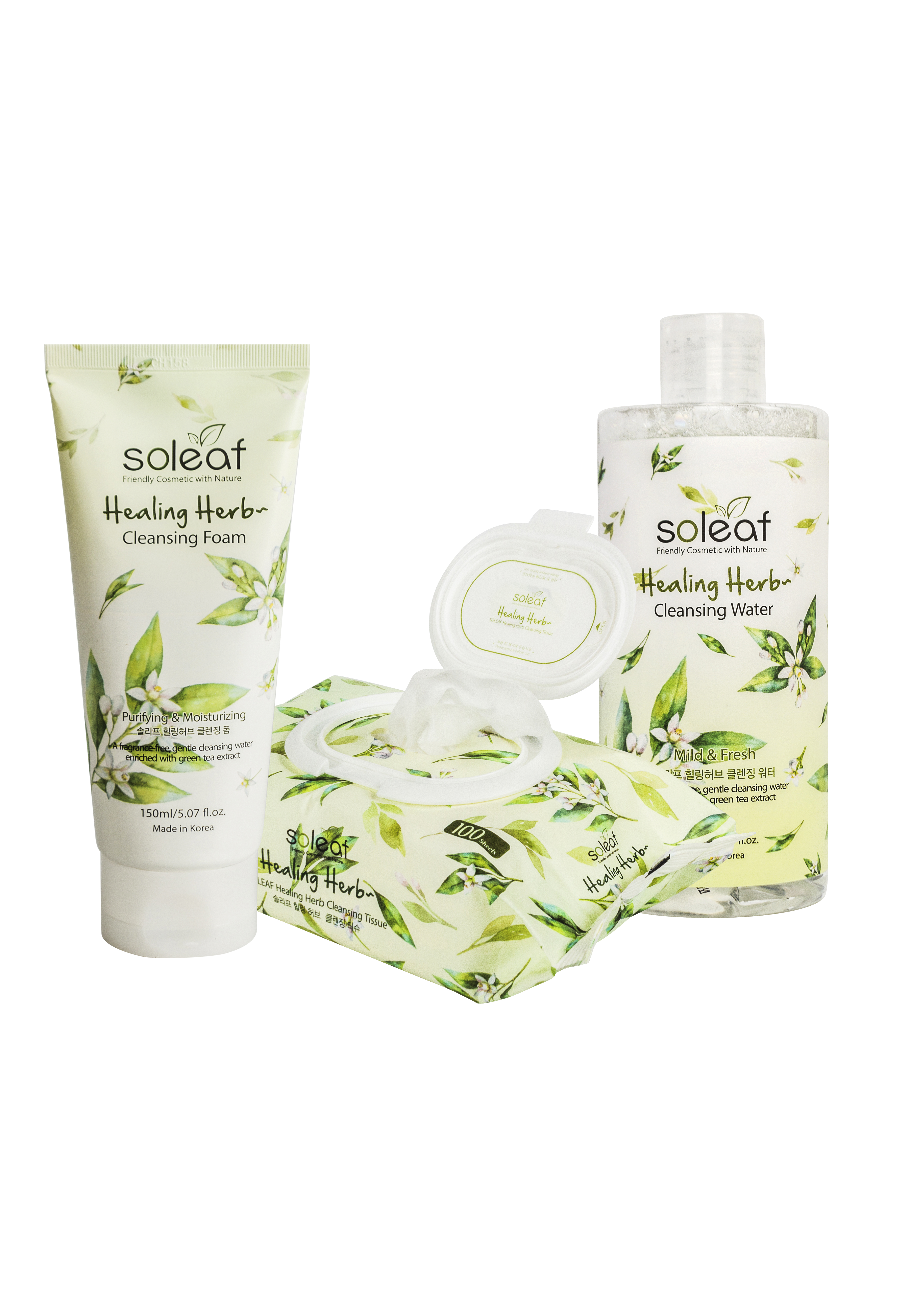 [BIG SALE 3pcs] Healing Herb Cleansing Water+Cleansing Foam+Tissue thumbnail