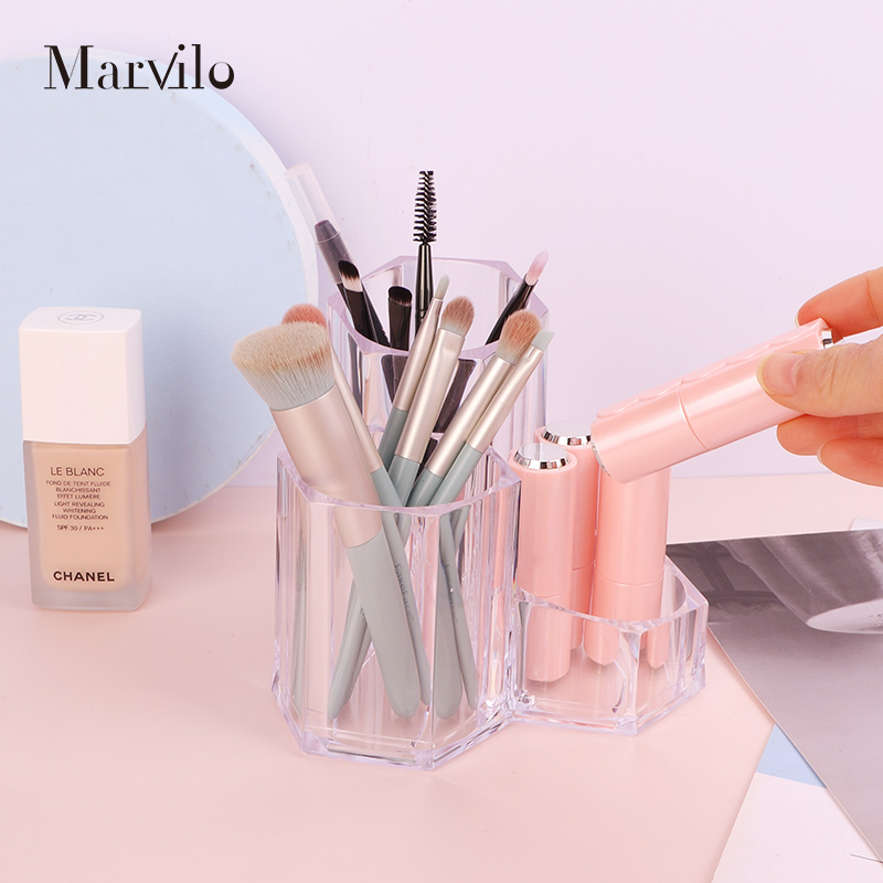Marvilo Kotak Brush Akrilik Makeup Organizer 3 Sekat 4
