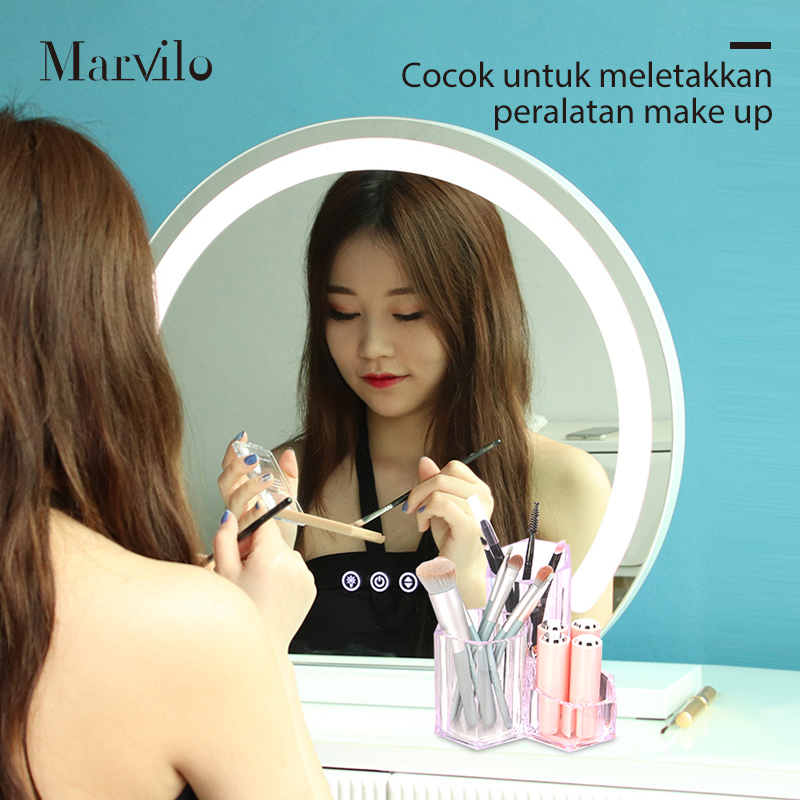 Marvilo Kotak Brush Akrilik Makeup Organizer 3 Sekat 3