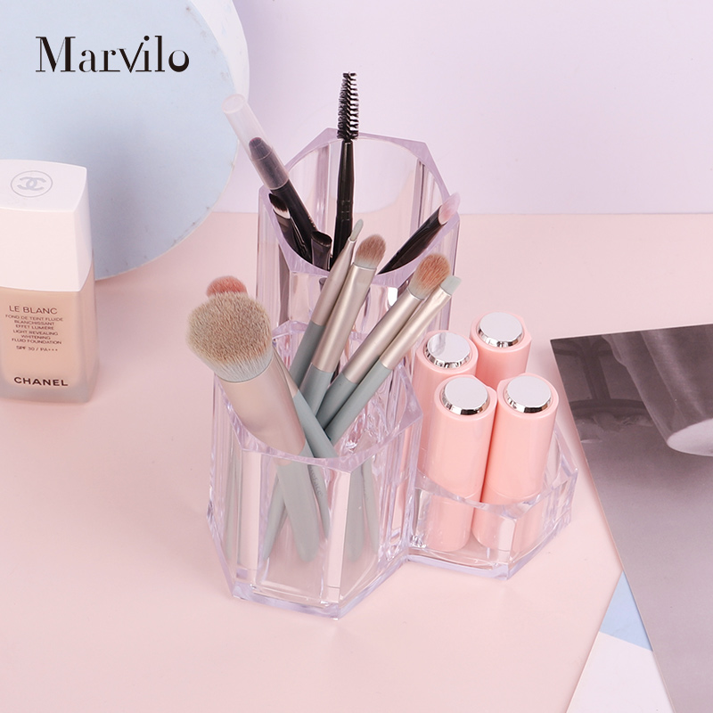 Marvilo Kotak Brush Akrilik Makeup Organizer 3 Sekat 2