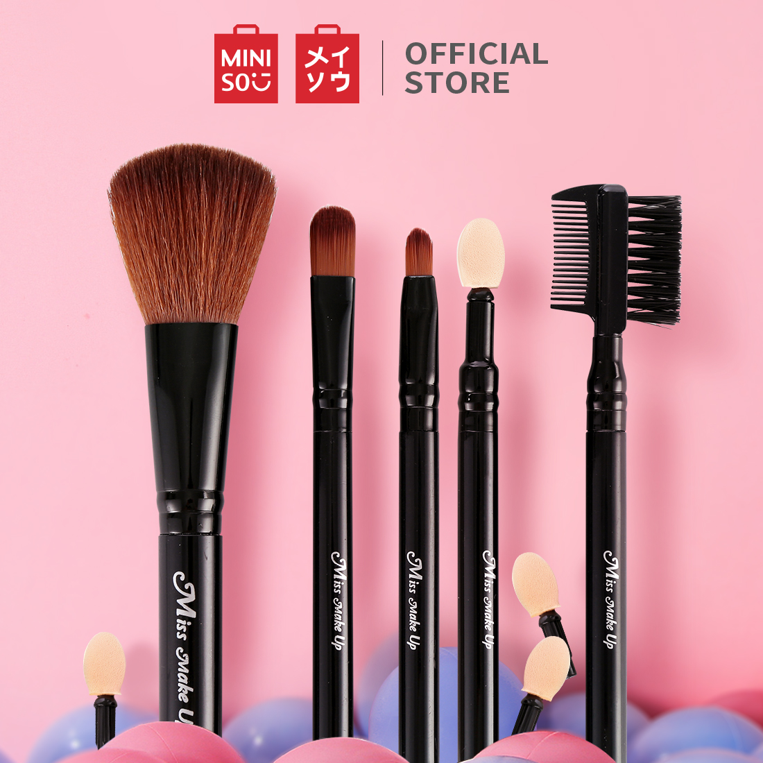 Miniso Official Skin charm makeup brush 5piece setincl (07MN-9610) - Hitam thumbnail