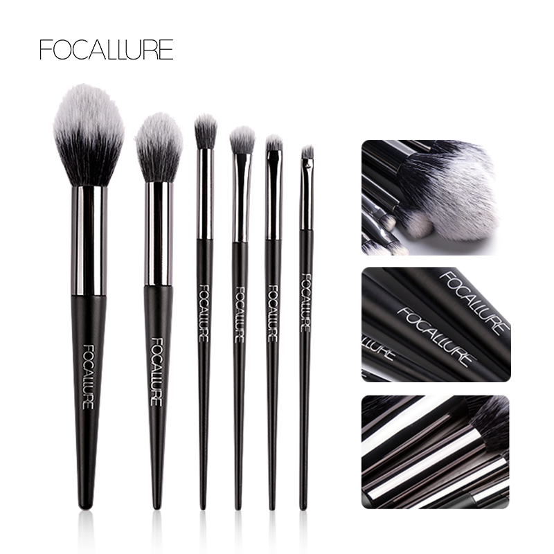 FOCALLURE 6pcs Make Up Brushes Set FA70 (100% Original, BPOM) - FA70-01 (6pcs) thumbnail