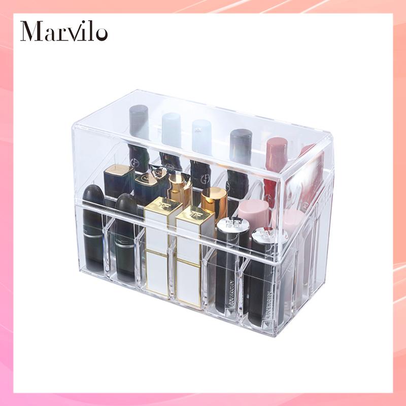 Marvilo Kotak Lipstik Akrilik 18 Sekat dengan Tutup Lipstick Organizer 1
