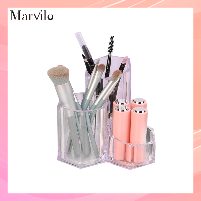 Marvilo Kotak Brush Akrilik Makeup Organizer 3 Sekat 1