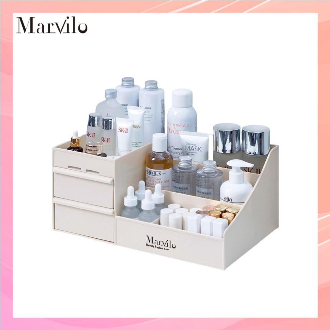 Marvilo Rak Penyimpanan Multifungsi Rak Makeup Organizer - Merah Muda 6
