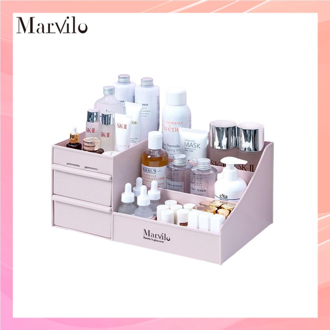 Marvilo Rak Penyimpanan Multifungsi Rak Makeup Organizer - Merah Muda 1