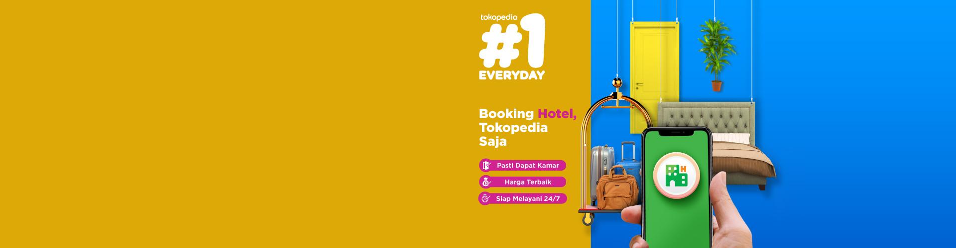 Kini booking hotel sudah bisa lewat Tokopedia loh, ayo update aplikasimu untuk mendapatkan fitur ini!