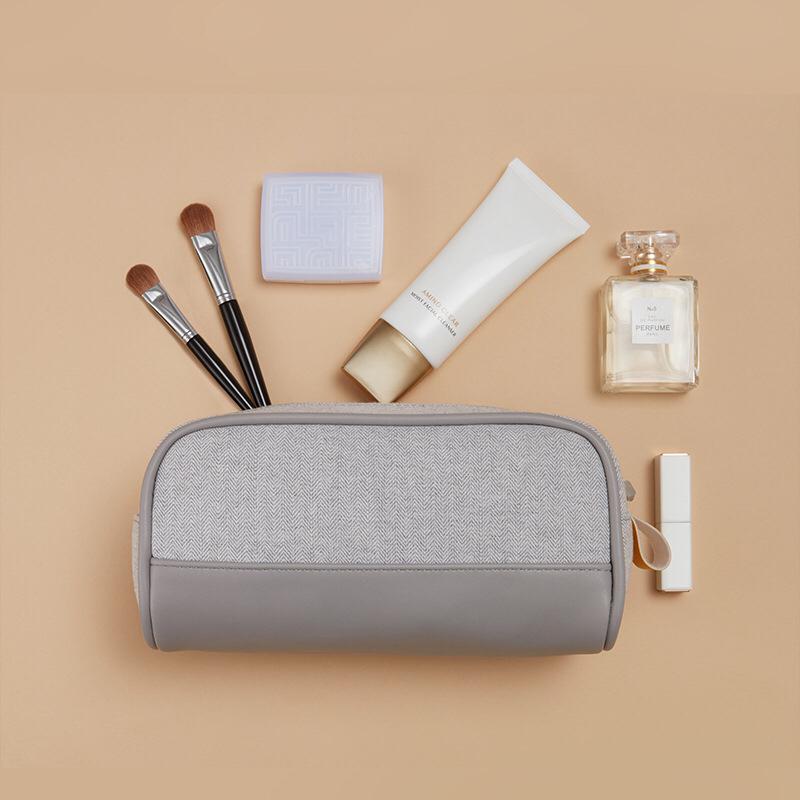 Travel Toiletries Kosmetik Organiser Leather Bag - Grey thumbnail