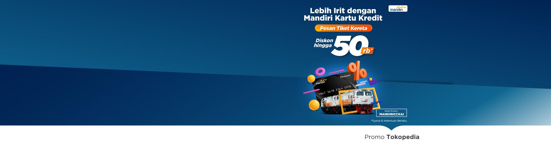 Hanya di hari Rabu beli tiket kereta bisa dapat diskon hingga 50rb dengan kartu kredit Mandiri!