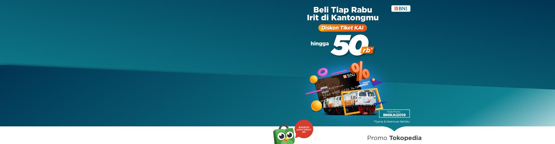 Hanya di hari Rabu beli tiket kereta bisa dapat diskon hingga 50rb dengan kartu kredit BNI!