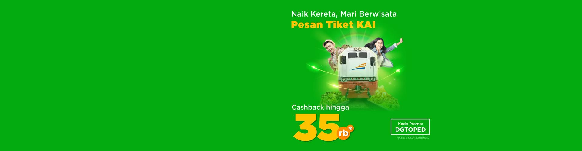 Hanya 3 hari dari 19 - 21 Agustus, beli tiket kereta bisa dapat cashback hingga 65rb!