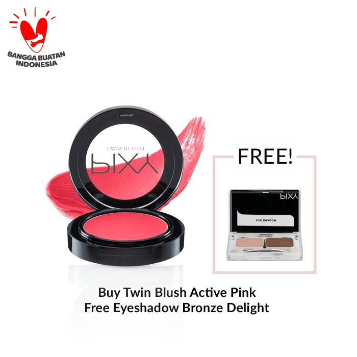 [Free Eyeshadow Bronze Delight] PIXY Twin Blush Active Pink - 02 thumbnail