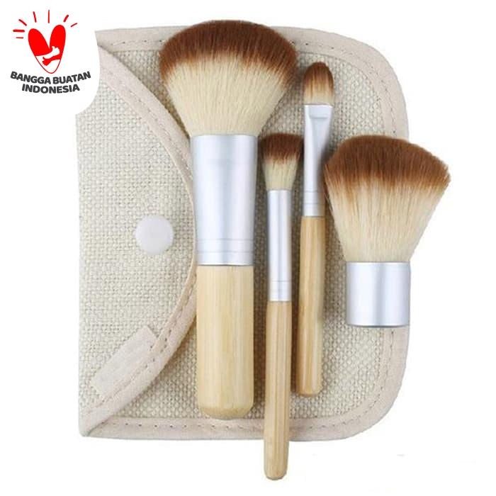 Woodika Set Kuas MakeUp Bamboo Cosmetic Make Up Brush - 4 pcs thumbnail