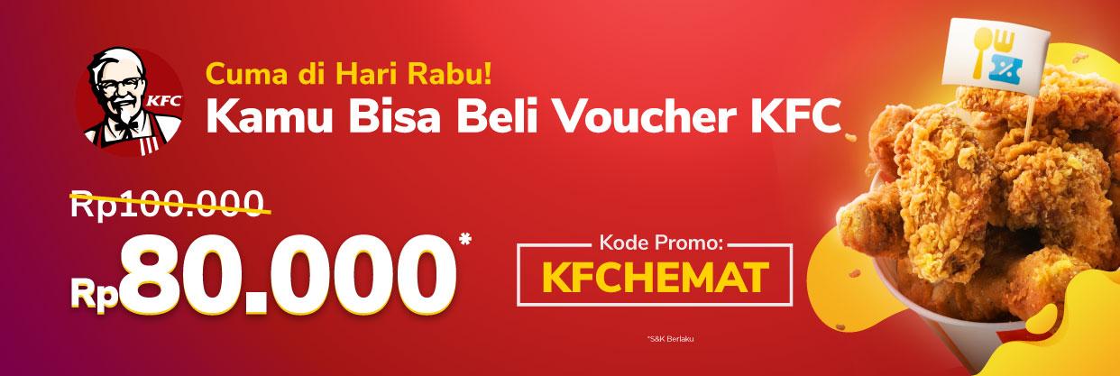 Dapatkan diskon Rp14,500 saat  pembelian voucher KFC, hanya di Tokopedia