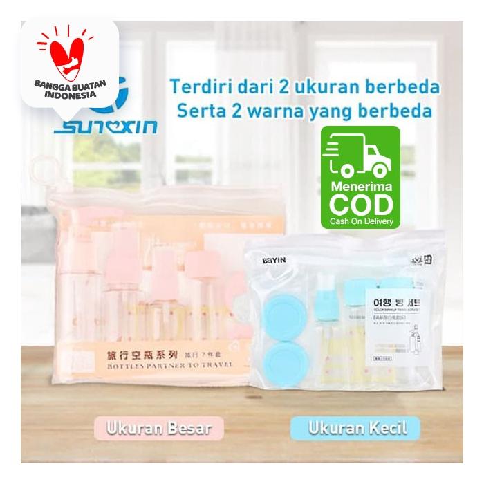 7 in 1 Travel Toiletries Kit Set Botol Kecil Berpergian 1 set isi 7 - Merah Muda, Ukuran Besar thumbnail