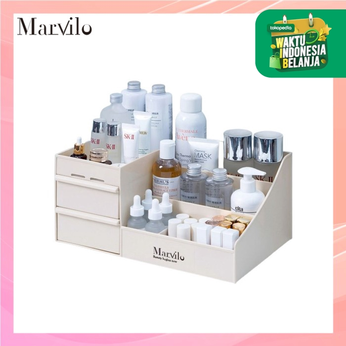 Marvilo Rak Penyimpanan Multifungsi Rak Makeup Organizer - Khaki thumbnail