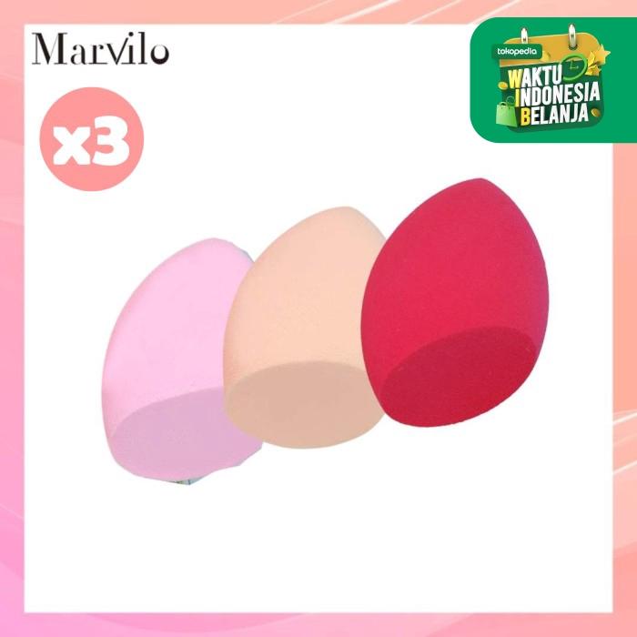 [BELI 3 LEBIH HEMAT] Marvilo Beauty Sponge Blender Bentuk Miring 3 Pcs - Merah thumbnail