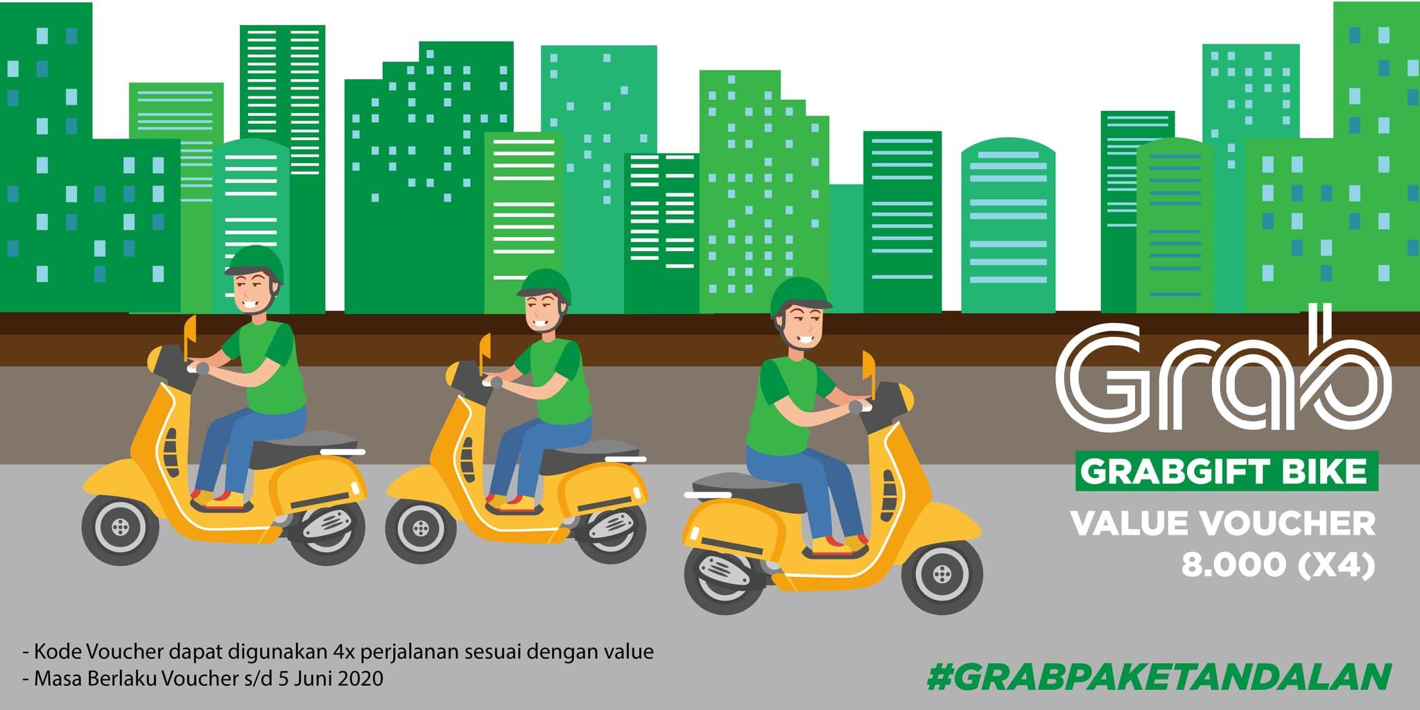 4x Voucher Grab Bike Rp 8.000 (khusus Pengguna Aplikasi Grab)