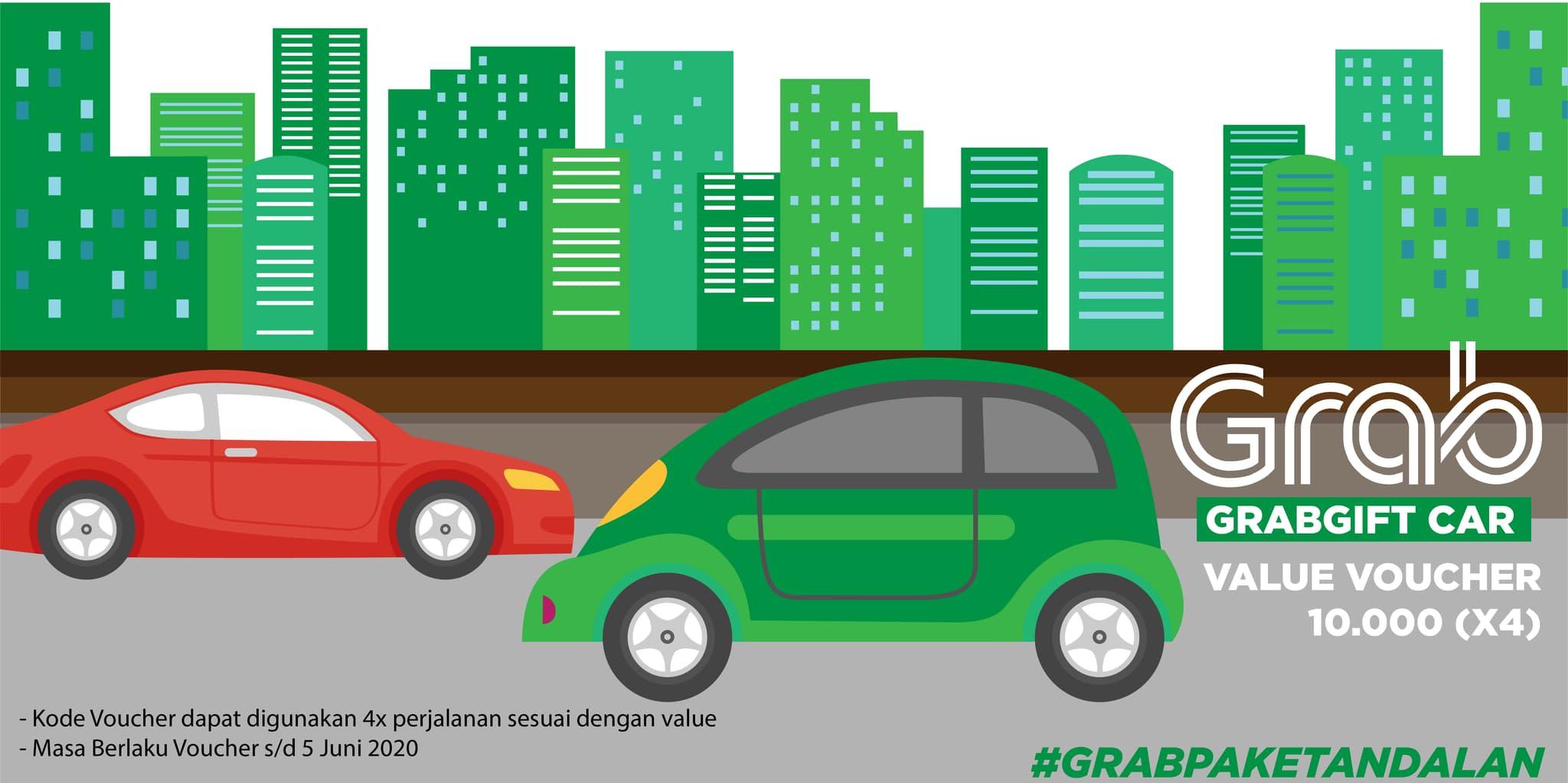 4x Voucher Grab Car Rp 10.000 (khusus Pengguna Aplikasi Grab)