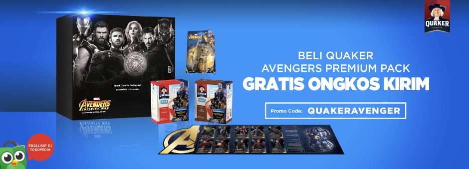 Mau Sarapan Bareng Avengers? Beli Quaker Avengers Premium Pack GRATIS Ongkir!