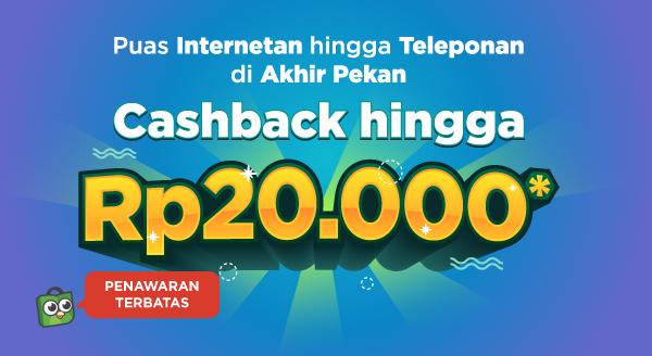 Beli Pulsa & Paket Data, Cashback s/d 20rb!