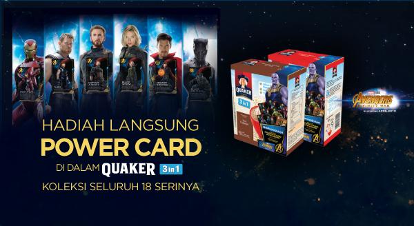 Beli Quaker 3 in 1, GRATIS Koleksi Kartu Avengers Infinity War Favoritmu!