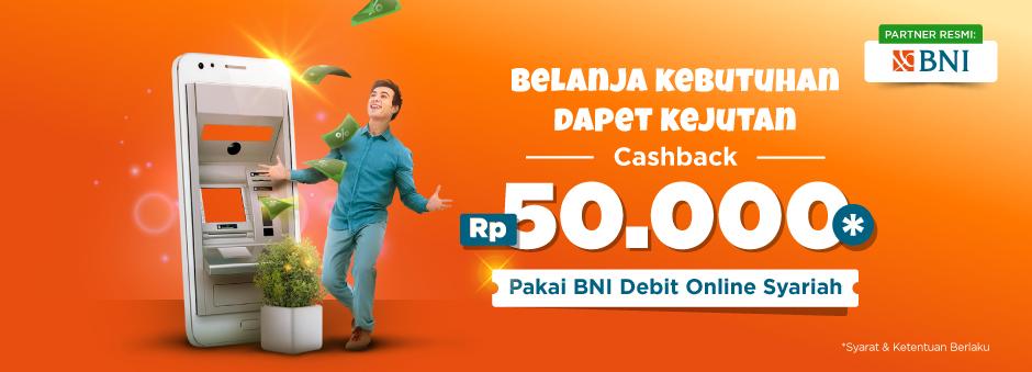 Cashback Rp50.000 dari Kartu Debit BNI Syariah!